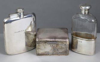 """An Edwardian silver-mounted cut-glass spirit flask, London 1901, 5¾"""" high; a sivler-plated hip"""