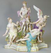 A MEISSEN PORCELAIN FIGURE GROUP 'THE PARCAE' (The Fates), after Kandler; blue crossed swords marks,