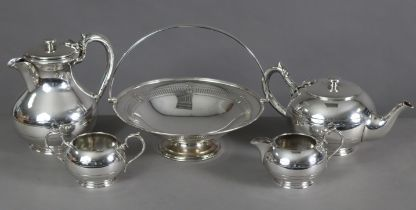 """A silver-plated four-piece tea & coffee service by Walker & Hall (coffee pot 7"""" high); & a ditto"""