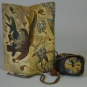 A 19th century Japanese lacquer two-case inro with gilt & mother-o'-pearl floral decoration on a