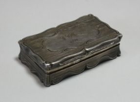 A Victorian silver snuff box, of shaped rectangular form with engine-turned decoration, engraved
