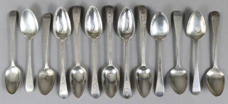 A set of six George III silver Old English bright-cut teaspoons, London 1813 by Samuel Davenport (pr