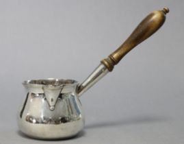 An early George III silver brandy saucepan of squat round shape, with engraved monogram & turned