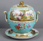 A Meissen porcelain (outside decorated) large spherical two-handled vase, cover, & stand, of