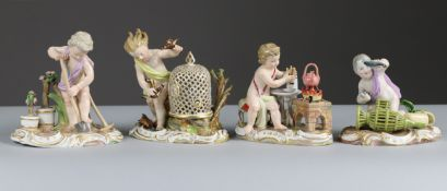 A SET OF FOUR MEISSEN PORCELAIN FIGURES OF PUTTI REPRESENTING THE ELEMENTS OF FIRE, WATER, AIR, &