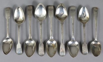 Two Irish George III silver Fiddle pattern teaspoons, Dublin 1816 by Samuel Neville; two ditto, Lon
