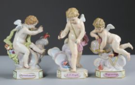 A SET OF THREE MEISSEN FIGURE OF CUPID, engaged in various pursuits, each on triangular base with