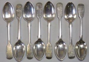 Six Victorian Fiddle pattern teaspoons, Lodnon1885 by George Maudsley Jackson; & a similar pair,