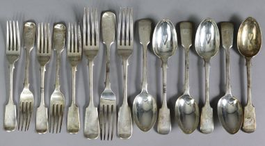 A set of six late Victorian Fiddle pattern dessert spoons; five matching dessert forks; & three