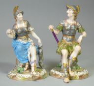 A pair of Meissen porcelain figures of Mars and Minerva, each dressed in armour & seated on a tree