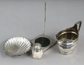 A George III silver cream jug with reeded rim & angular handle, London 1804 by Stephen Adams ?,( 4.