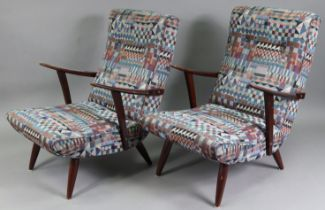 A pair of mid-20th century easy chairs, with buttoned backs & sprung seats upholstered multicoloured