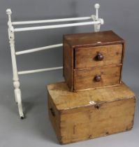 """An elm small storage trunk with hinged lift-lid, & wrought-iron side handles, 22½"""" wide x 11¾"""" high;"""