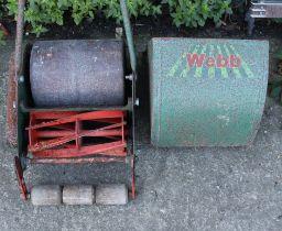 "A Webb ""Whippet"" push-along lawn mower (lacking grass box); & various garden tools & hand tools."