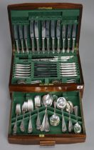 A canteen of silver-plated cutlery comprising eighty-six items, & in a mahogany case.