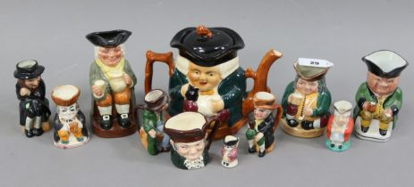 """Two Royal Doulton toby jugs """"Happy John"""", & """"Honest Measure""""; a ditto character jug """"Old Charley""""; &"""
