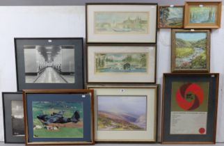 Eleven various decorative paintings & prints (including a print after F. J. Widgery).
