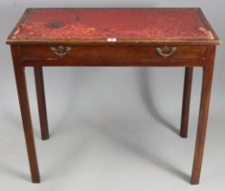 A mahogany writing table inset gilt-tooled crimson leather, fitted frieze drawer, &