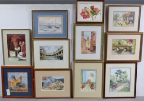 Fifteen various decorative paintings & prints, each in a glazed frame; & various Readers Digest