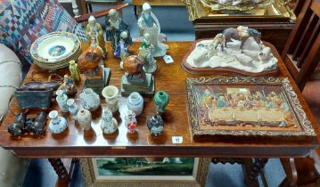 A Lladro Nao female figure; twelve miniature Chinese vases; various other decorative ornaments; &