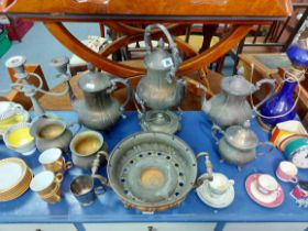 A silver plated four-piece tea & coffee service; a ditto rectangular two-handled tray; various other