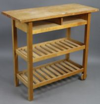 """A pine & beech kitchen island on square supports, 39¼"""" wide x 35½"""" high x 17¼"""" deep."""