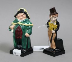 """Two Royal Doulton Charles Dickens character figures """"Bumble"""" & """"Dick Swiveller""""."""