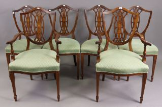 A set of six late 19th/early 20th century inlaid-mahogany dining chairs (including a pair of