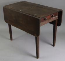 A late 19th/early 20th century oak drop-leaf table, fitted end drawer, & on square tapered legs,