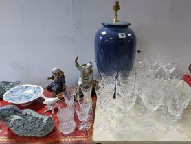 """A blue glazed pottery ovoid table lamp, 15"""" high; & various items of decorative pottery,"""