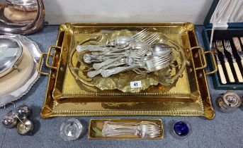 A part service of silver-plated kings pattern tableware comprising twenty-five items; a set of six