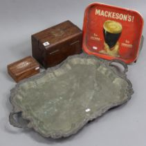 """A 19th century oak trinket box with brass mounts, 10¼"""" wide x 6½"""" high; together with various"""