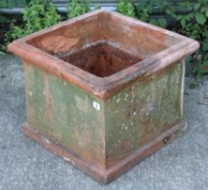 """A terracotta planter of square form, 19½"""" wide x 16"""" high."""