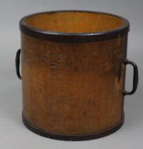 """A Japanese hardwood cylindrical two-handled grain bucket with steel fittings, 12¼"""" diameter x 12¼"""""""