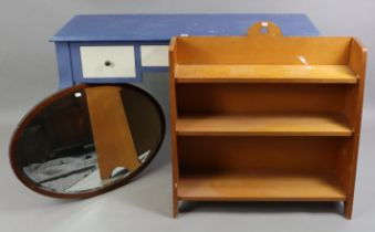 A blue painted wooden & white-finish dressing table fitted three frieze drawers, & on slender