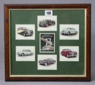 """A set of six Golden Era collectors' cards """"The Classic Bentley"""" displayed in a glazed frame."""