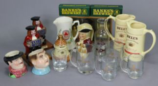 A Bell's scotch whisky winter warmer gift pack; two ditto bar jugs; three various character & toby