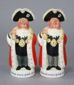 """Two Beswick Worthington's pale ale """"Behind every great man"""" mayor toby jugs, 9"""" high."""