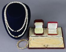 Three pearl necklaces; a pearl & simulated emerald bracelet; a yellow-metal bar brooch inset