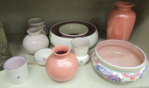 Poole pottery: to include a posy bowl 9.