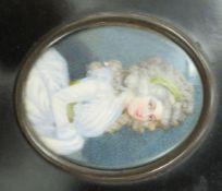 A 19thC portrait miniature, reputed to be Marie-Anne de Nesle 3.25'' x 2.