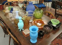 Decorative coloured and other glassware: to include two similar moulded pineapple design covered