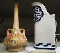 A Victorian Royal Worcester china triangular water jug,
