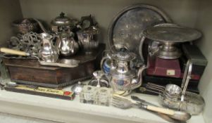Silver plated tableware: to include a Walker & Hall demi reeded three piece tea set OS5