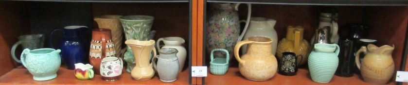Ceramic jugs and vases: to include examples of Trentham Art Ware, Arthur Wood,
