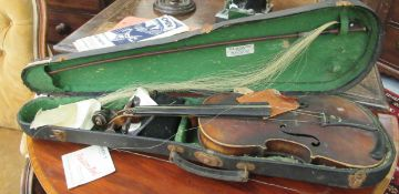 A late 19thC German violin with a two piece back and inlaid purfled edge the bow 13''L bears a