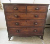 A late 19thC string inlaid mahogany five drawer dressing chest, raised on bracket feet 38.