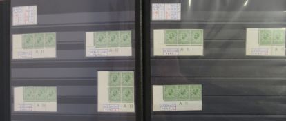 Postage stamps, Great Britain: an album containing King George V half-penny and 1d corner blocks,