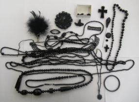 Jet and other black bead necklaces and buttons CS