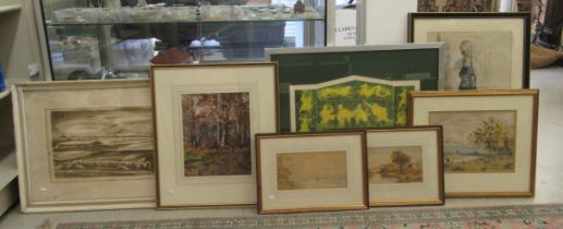 Seven Victorian and later seascapes and landscapes: to include JW Goldsmith - a wood watercolour